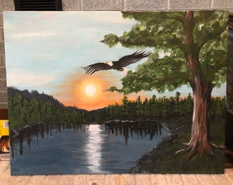 Eagle Flying one of a kind painting