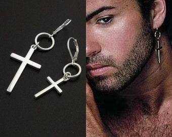 George Michael Earring Cross Earring sterling silver George Michael Hang Hoop earring , One piece  Unisex earring memorial jewelry