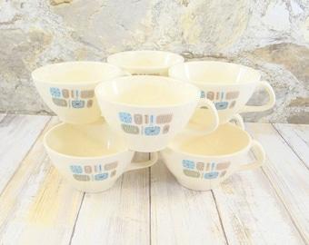 Mid Century Modern Atomic Temporama Teacups, Set of Eight, Canonsburg Pottery