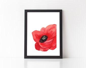 Poppy Print - art print, floral print, flower print, flower wall decor, white space print, poppy print, poppies, red flower print