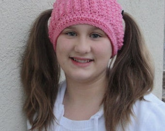 "Crochet Pattern - ""Natalie Pigtail Beanie"" - INSTANT DOWNLOAD"