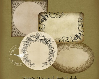 Vintage Tan and Sepia Labels Blank Labels Digital Download