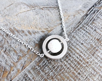 Lava Stone Diffuser Necklace, Dainty Silver Necklace, Minimalist Necklace, White Lava Stone, Essential Oil Necklace, Bridesmaid Necklace
