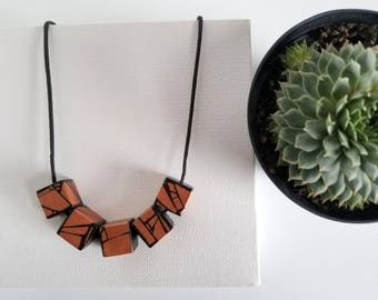 Handmade Wood Necklace In Copper