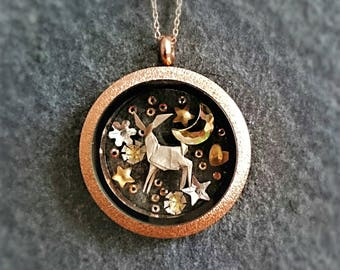 ORIGAMI Deer Necklace. Glass Locket. Bambi Necklace. Fawn. Swarovski Necklace. Christmas Gift. Paper Anniversary Gift. Woodland Necklace.