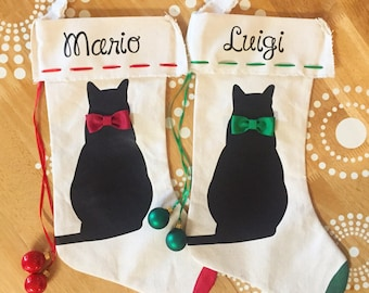 Cat Stocking, Cat Christmas Stocking, Black Cat Christmas Stocking,