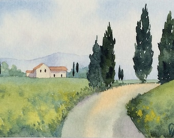 Original watercolor ACEO painting - Around the bend