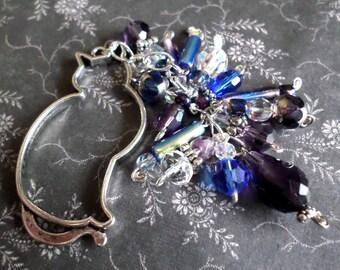 Obi Kazari Beaded Obi Charm - Cat Kimono Obi Charm - Japanese Kimono Fashion Accessory - Blue Purple AB Silver OOAK
