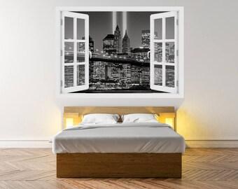 3D window Brooklyn Bridge in Manhattan New York, Wall Decal Vinyl, 3D Wall Art, Vinyl Peel and Stick removable Home, wall sticker, USA, O#68