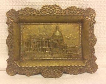 Vintage brass white house ashtray
