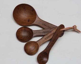 Beautiful Teak Wood Measuring Spoon Set