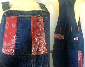 Red Bandanna Denim Overalls Size M/L High Rise Short Leg Jeans Jumper