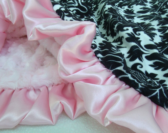 Black and White Damask and Pink Minky Blanket - for baby girl - Pink Rose Swirl
