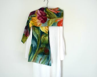 Hand-Painted Silk Charmeuse Scarf, Long Colorful, Floral