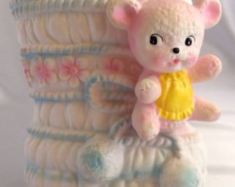 RESERVED for PAULA- Vintage ceramic baby bootie and pink bear planter