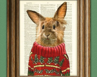 Flopsy the Rabbit in an ugly sweater Cute Christmas Bunny Rabbit illustration beautifully upcycled dictionary page book art print