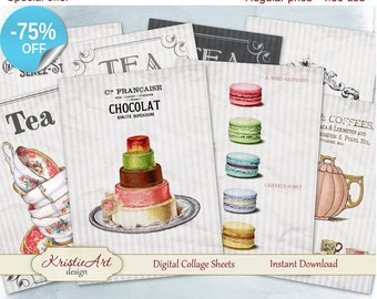 "75% OFF SALE Digital collage sheets ""Tea&Chocolate"" Digital cards C063 Printable Download Cards Gift Tag image digital atc digital collage"
