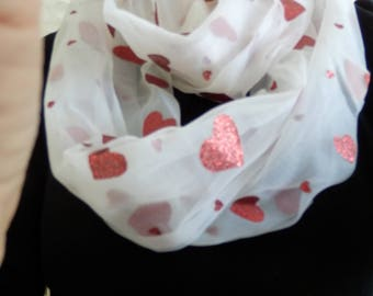 White with RED Hearts Circle Infinity Scarf