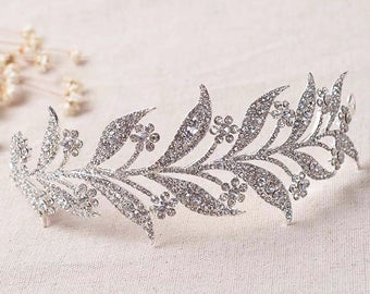 LENORA - Silver Bridal Wedding Tiara Crown Hair Piece