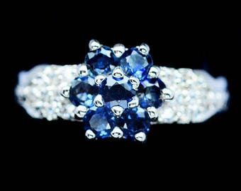 Ring in 925 silver plated white gold blue Sapphire and white Topaz
