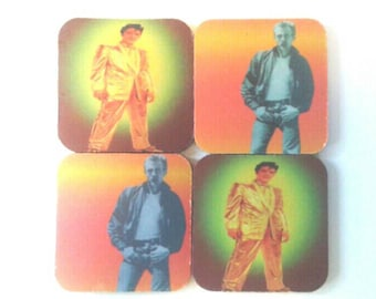 Male Icons. Elvis And James Dean Rubber Coaster Set, Drink Coasters, Elvis Coasters, James Dean Coasters, Made By Mod.