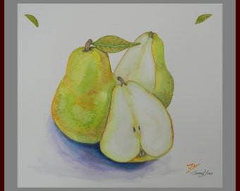 original Watercolor Painting, Pear Painting Size 10x8in, on Paper 11.5x10in, green, kitchen decor
