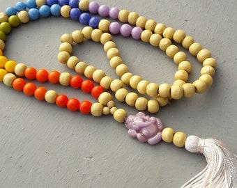Mala 7 chakras, Ganesha ,108 Mala Bead, Mala Necklace, Tassel Necklace, yoga necklace, yoga jewelry ,Yoga Meditation, Long wooden necklace