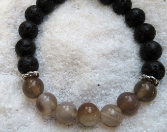 Crazy lace agate with lava stone bracelet