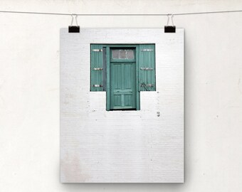 New Orleans Door Photograph, NOLA Architecture, Art Print, Teal White