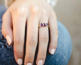 february birthstone ring | raw amethyst ring | amethyst crystal ring | rough amethyst stacking ring | natural amethyst birthstone ring