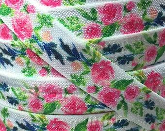 "5/8"", Watercolor Elastic, Floral FOE,  Fold Over Elastic, Flowers, Elastic by the Yard , Elastic Hair Ties, Elastic Headbands, #003"