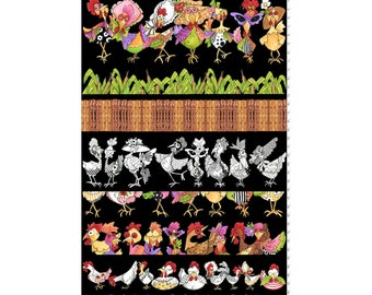 Chicken Strips  Black Fabric Panel ~ Chicken Chique Collection By Loralie Designs Fabric