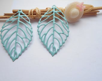 x 2 light turquoise enameled leaf prints