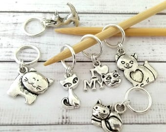Crazy Cat Lady Stitch Markers - kitty cat stitchmarkers - feline crochet markers - place holders knitting crochet