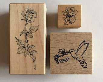3 Rubber Stamps-Roses & Hummingbird