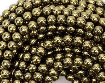 """6mm pyrite hematite round beads 15.5"""" strand 38959"""