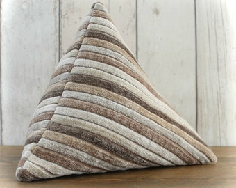 Fabric Doorstop, Doorstopper in Brown Chenille Striped Fabric, Triangular, Pyramid Shape