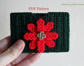 Plastic Canvas Christmas Patterns: Poinsettia Gift Card Holder, PDF Format, Digital Pattern, Christmas Patterns, Holiday Patterns, Gift idea