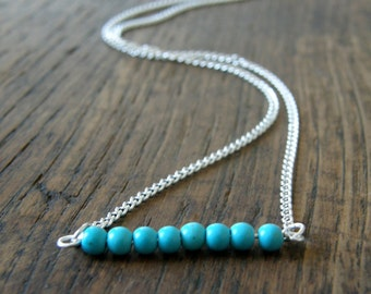 Turquoise Gemstone Silver Necklace, Birthday gift, Friend gift , Modern, Simple