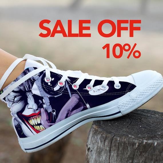 Villain Quinn Comics Custom Sneaker Shoes Top Converse Custom Clown Joker DC Super Batman Joker Harley Joker The Laugh High Joker Custom Cw8qRSf