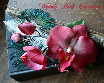Lady Estrilda Hair Fascinator Clip - ATS, Tribal Fusion, Steampunk, Belly Dance, Pin Up, Orchid, Red, Raspberry, Fairy, Peacock, Ostrich