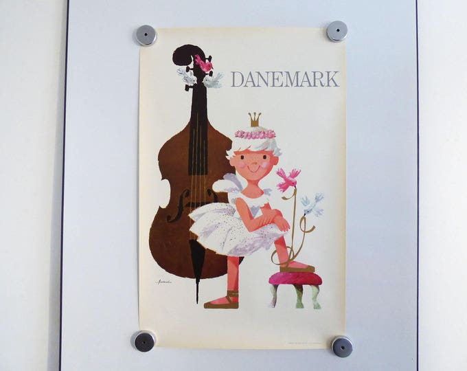 Ib Antoni travel poster Danemark Denmark Scandinavian retro vintage 1960's print