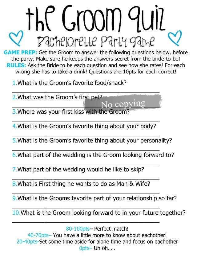 Questions For Bachelorette Party Game About The Bride