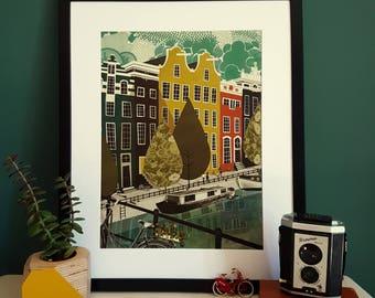 Amsterdam Houses Illustration Print