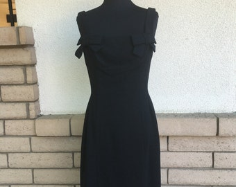 60s Little Black Dress w/Bows + Asymmetrical Zipper by Femme Fashion Size Small