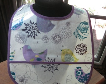 WATERPROOF BIB Wipeable Plastic Coated Baby to Toddler Bib Lavender Birds and Flowers