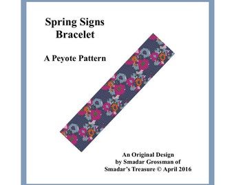 Beading Pattern, Odd Count Peyote Stitch, Cuff Bracelet Pattern  / Spring Signs Bracelet / Floral Flowers, Off Loom Beadweaving Beadwork