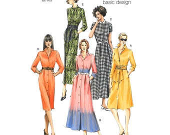 Vogue Dress Pattern Vogue 8028 Shirtdress Two Lengths, Collar Dress Button Front Womens Size 8 10 12 or 14 16 18 Sewing Pattern UNCUT