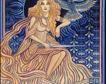 Minerva Roman Goddess of Wisdom ACEO Altar Art Mini Print Bohemian Art Nouveau Goddess Art