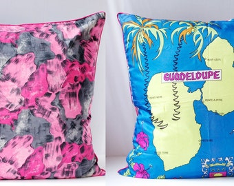 Vintage Scarf Pillow Cover,  Floral SILK and Map of GUADELOUPE Large Handmade Upcycled Home Decor OOAK